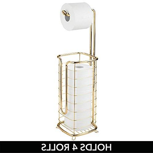 mDesign Metal Free-Standing Toilet Holder and Dispenser, Roll and Spare Rolls for Holds Rolls - Square,
