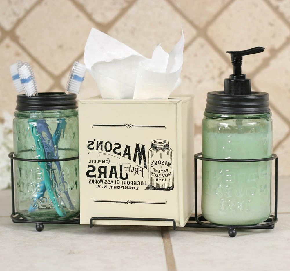 Mason Jar Bathroom Caddy Dispenser, Toothbrush Holder, Tissu