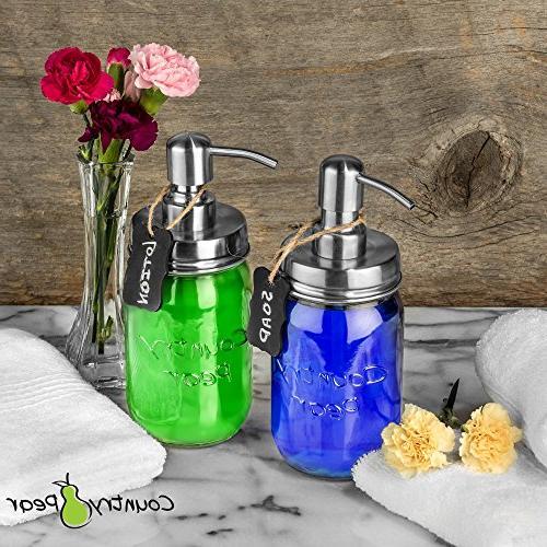 Country Pear Adorable Soap Dispenser Decor Accessories Mason Pump &