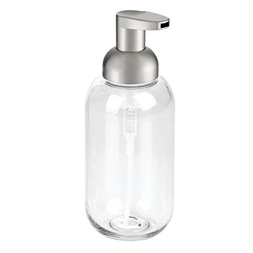 mDesign Foaming Dispenser Pump Bathroom Vanities, Sink, - 4 - Clear/Brushed