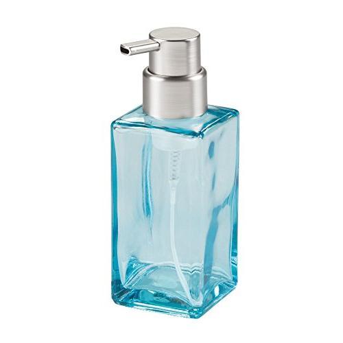 Dispenser Pump Bottle Bathroom or Sink, of 2, Square, Blue/Brushed, Clear/Brushed