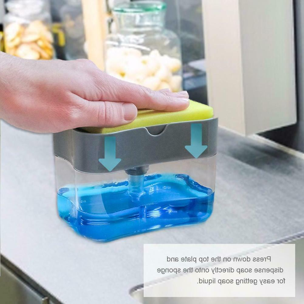 Soap Pump Dispenser Sponge Holder Soap and Sponge for Kitchen
