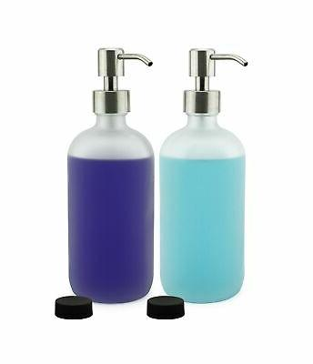 frosted glass soap dispenser w stainless steel