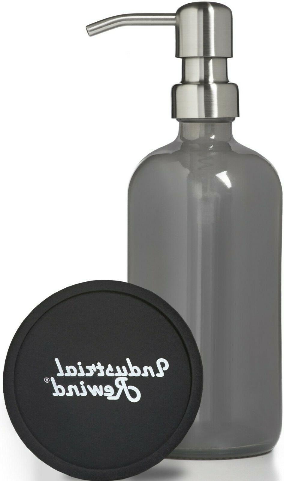 gray glass soap dispenser