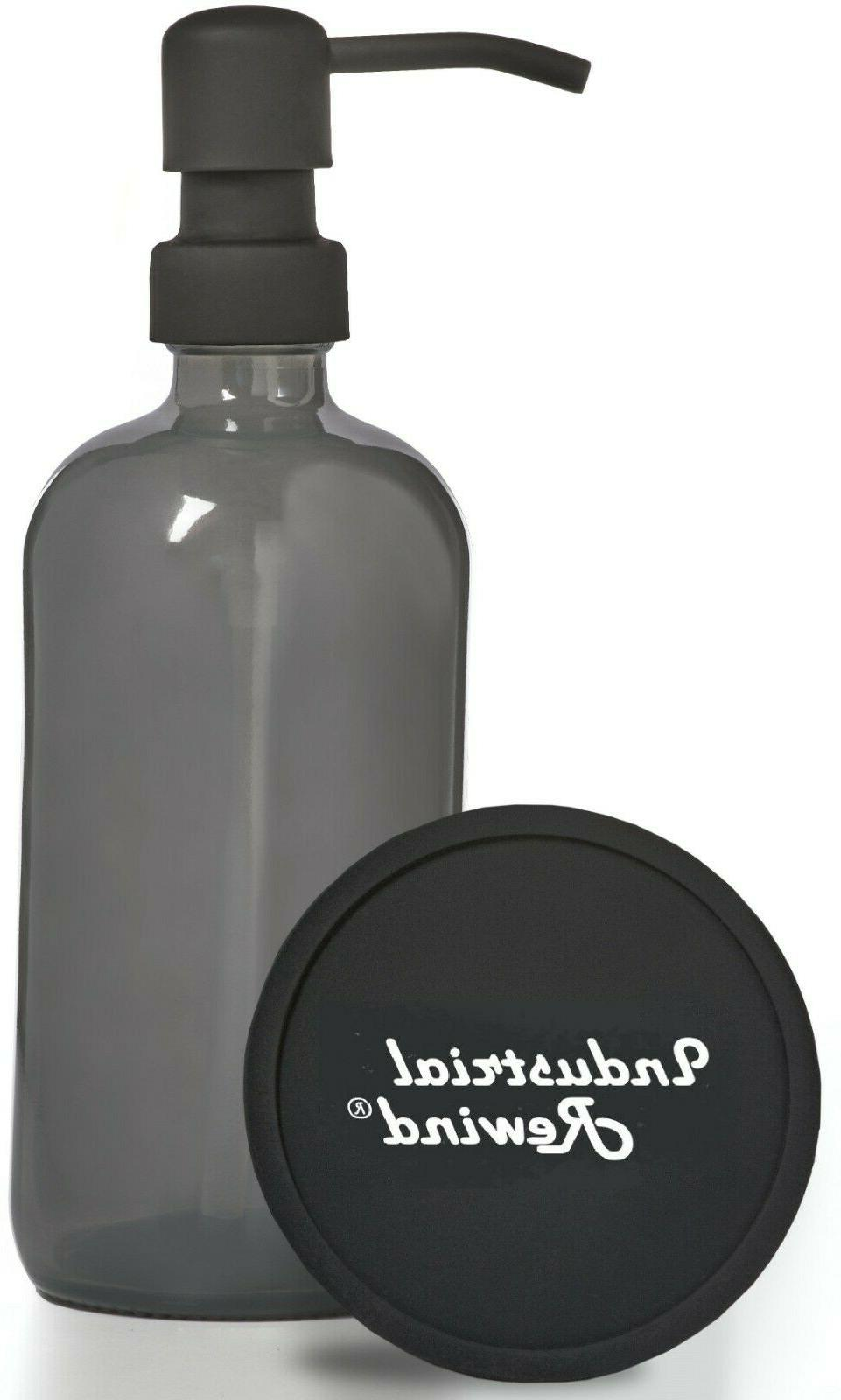 Industrial Rewind Gray Grey Soap Dispenser 8oz Glass Soap Di
