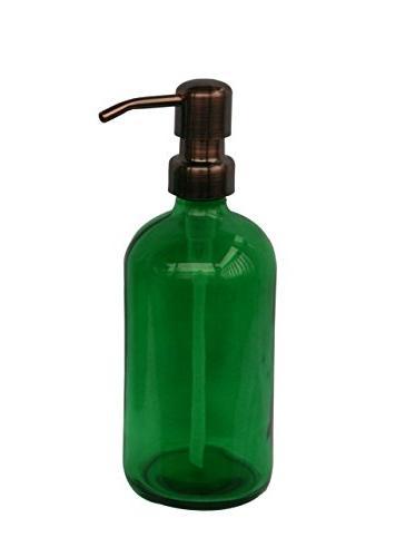 green glass soap dispenser
