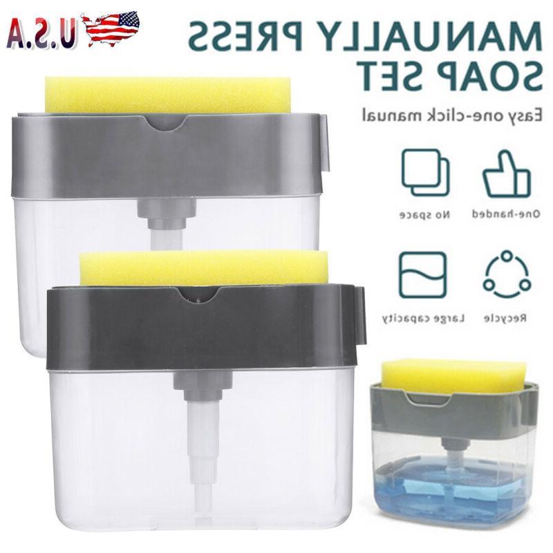 New 2-in-1 Liquid Soap Pump Dispenser Sponge Countertop Hold