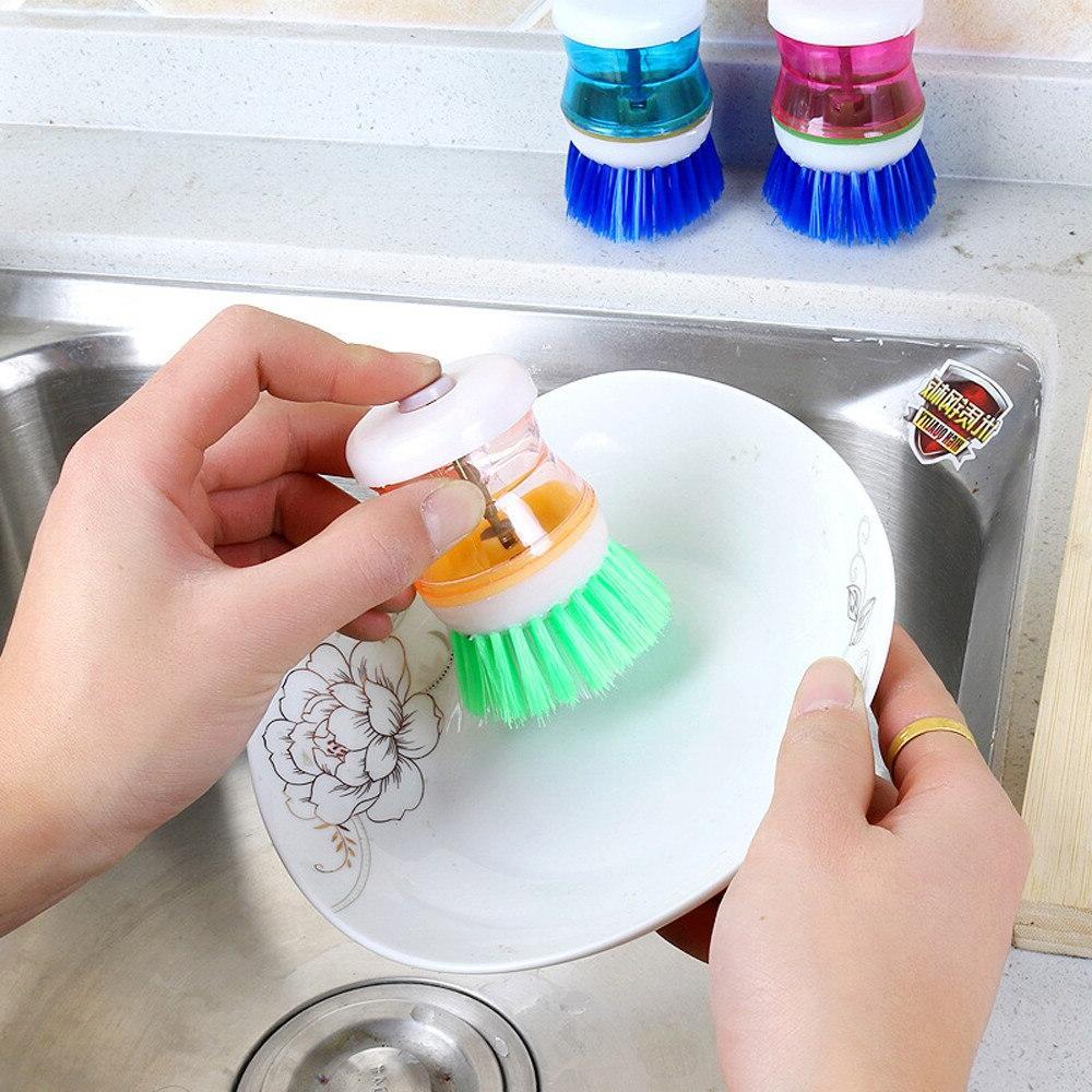 Kitchen Easy Palm Wash Clean <font><b>Holder</b></font> <font><b>Soap</b></font> Brush Dish Washer