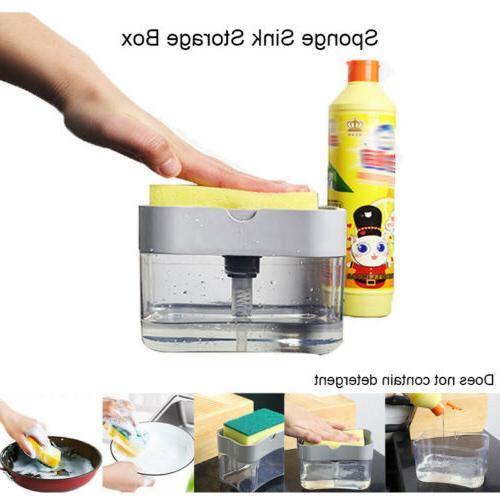 Kitchen Sink Storage Box Tray Sponge Manual Hand Press Dispe