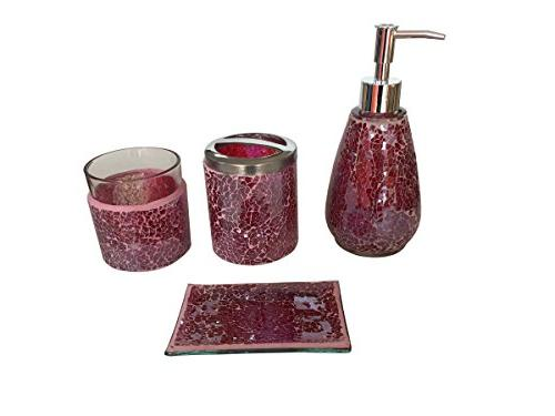 SkyMoving Luxury Bathroom Accessories set, 4-Piece Mosaic Glass