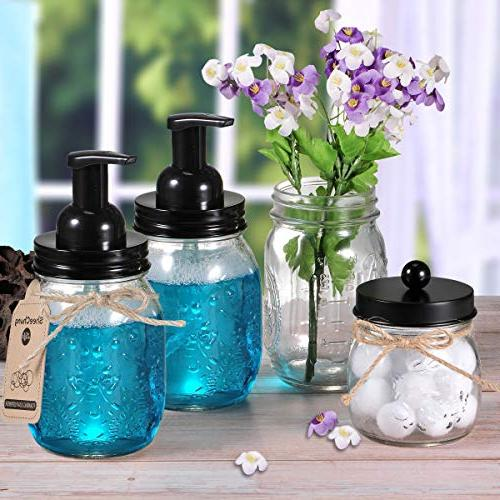Mason Jar Foaming Dispenser - 304 Steel Maons Jar Soap Pump,Best Dispenser for Vanities,Kitchen Sink,Countertops - Pack