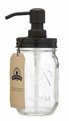 Jarmazing Products Mason Jar Soap Dispenser - Black - with 1