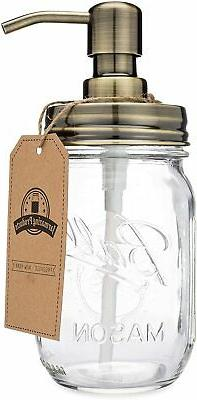Jarmazing Products Mason Jar Soap Dispenser - Brass - with 1