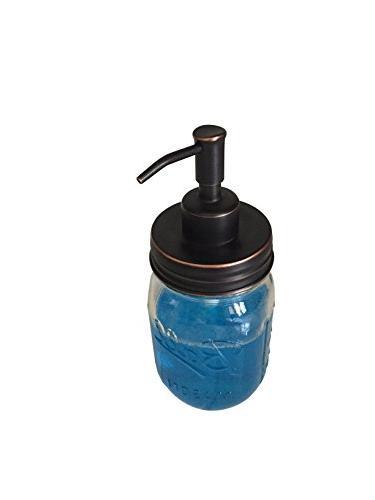 Industrial Rewind Mason soap Clear Jar with Bronze Soap Dispenser
