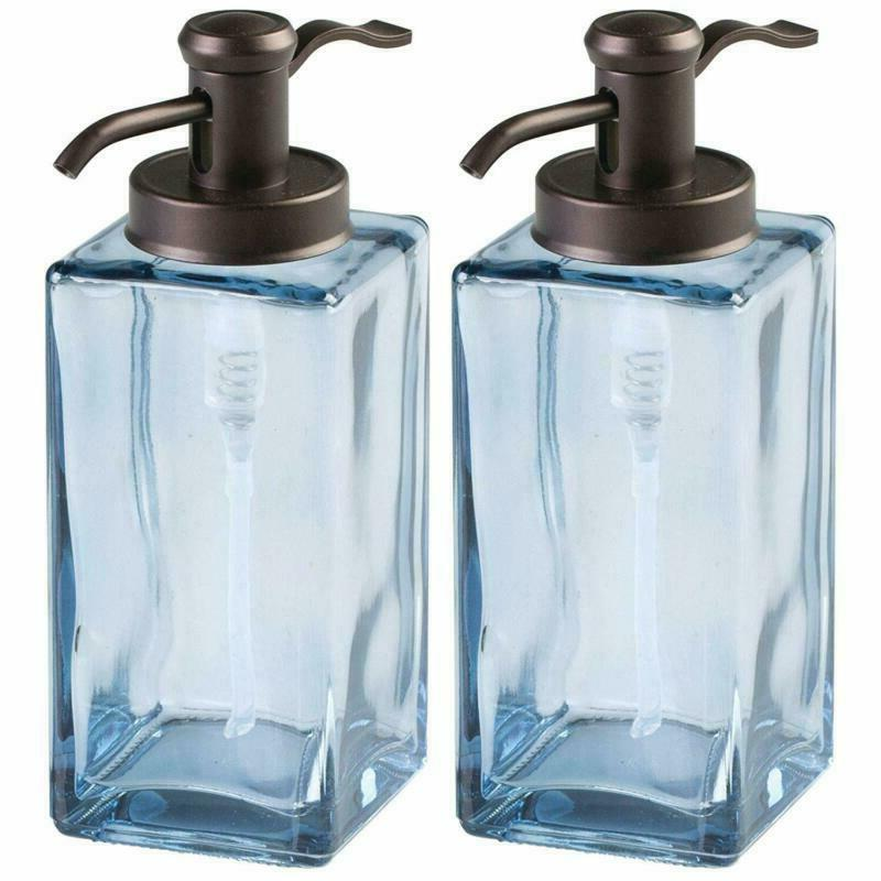Mdesign Decorative Square Glass Refillable Liquid Soap Dispe