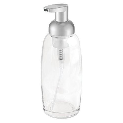 mDesign Glass Foaming Soap Pump Bottle for Bathroom or Sink, Countertops - Pack Pump Head