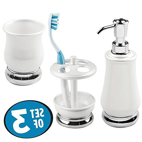 mDesign Bath Accessories Set, Holder Stand, Tumbler - Pearl White/Chrome
