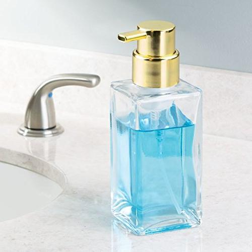 mDesign Soap Dispenser Pump Bottle Bathroom or Kitchen Sink, Countertops Clear/Gold