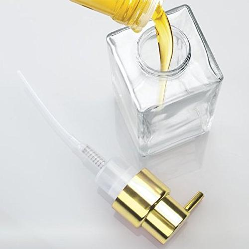 mDesign Glass Dispenser Pump Bottle for Bathroom Sink, Square, Clear/Gold