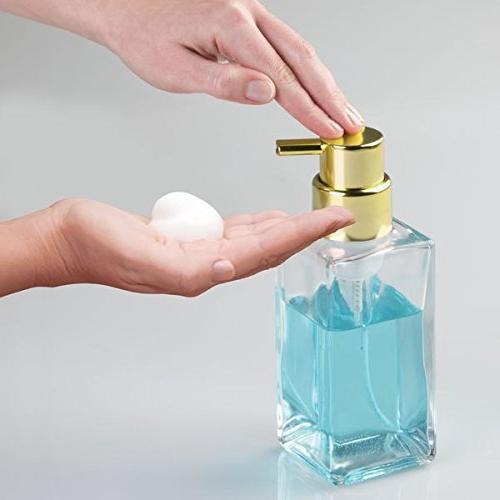 mDesign Dispenser Pump for Bathroom Sink, Clear/Gold Brass