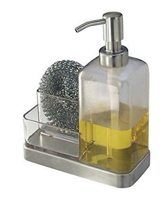 mDesign Soap with Organizer Kitchen Countertops - Clear/Brushed Stainless Steel