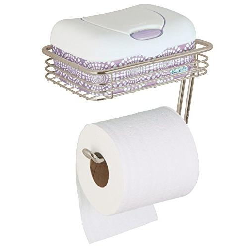 mDesign Toilet Tissue Paper Roll and with Storage Shelf Bathroom - and Roll - Metal