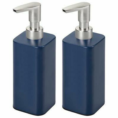 mDesign Modern Square Metal Refillable Liquid Hand Soap Disp