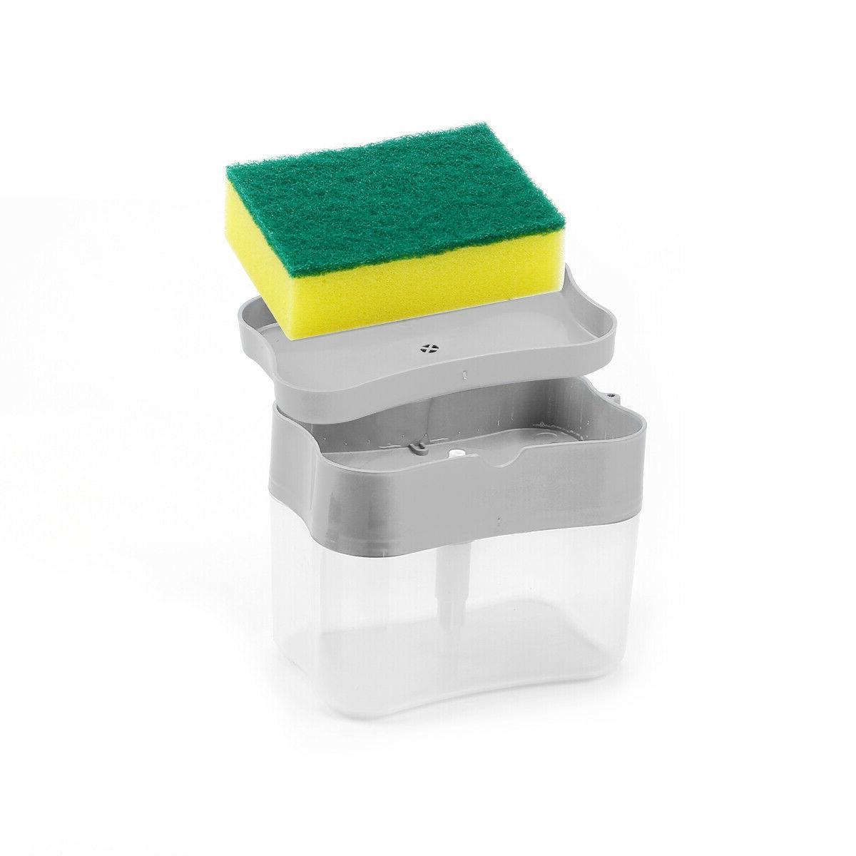 2 in1 Soap Pump Sponge Holder Press Rack