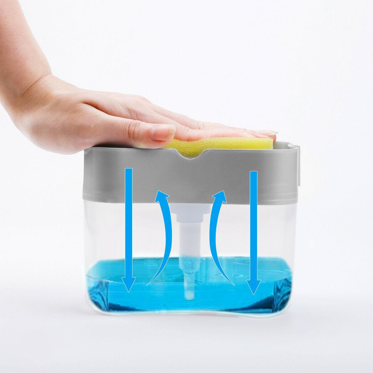 2 in1 Liquid Pump Sponge Press Rack