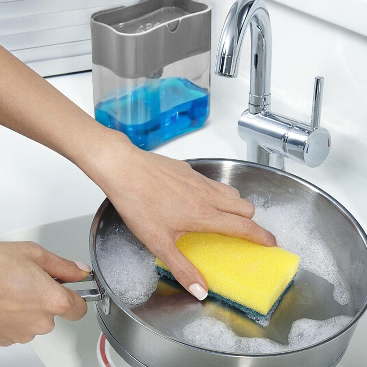 2 in1 Soap Pump Sponge Rack