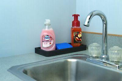 "Organizer Soap and Sponge Holder 5"" Tray Bathroom Black New"