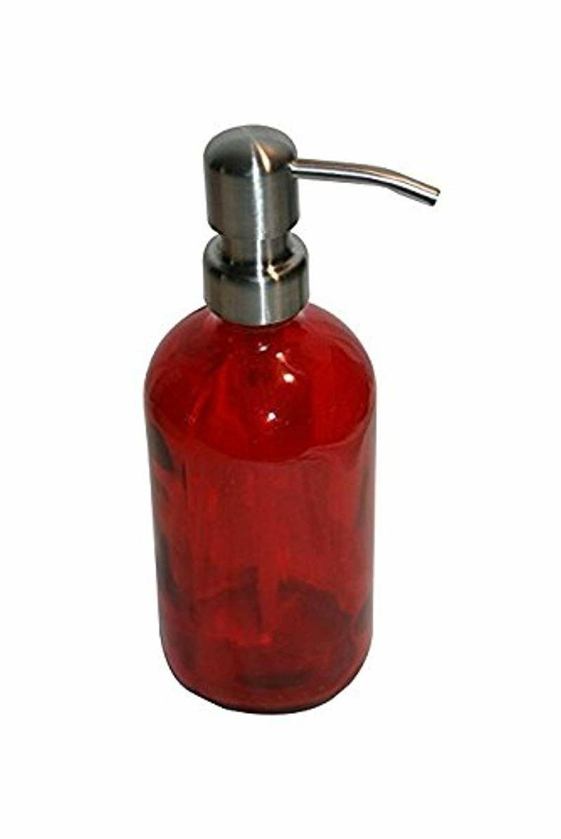 Red Soap Dispenser Bathroom Accessories Stainless Steel Pump Glass 8oz Bottle