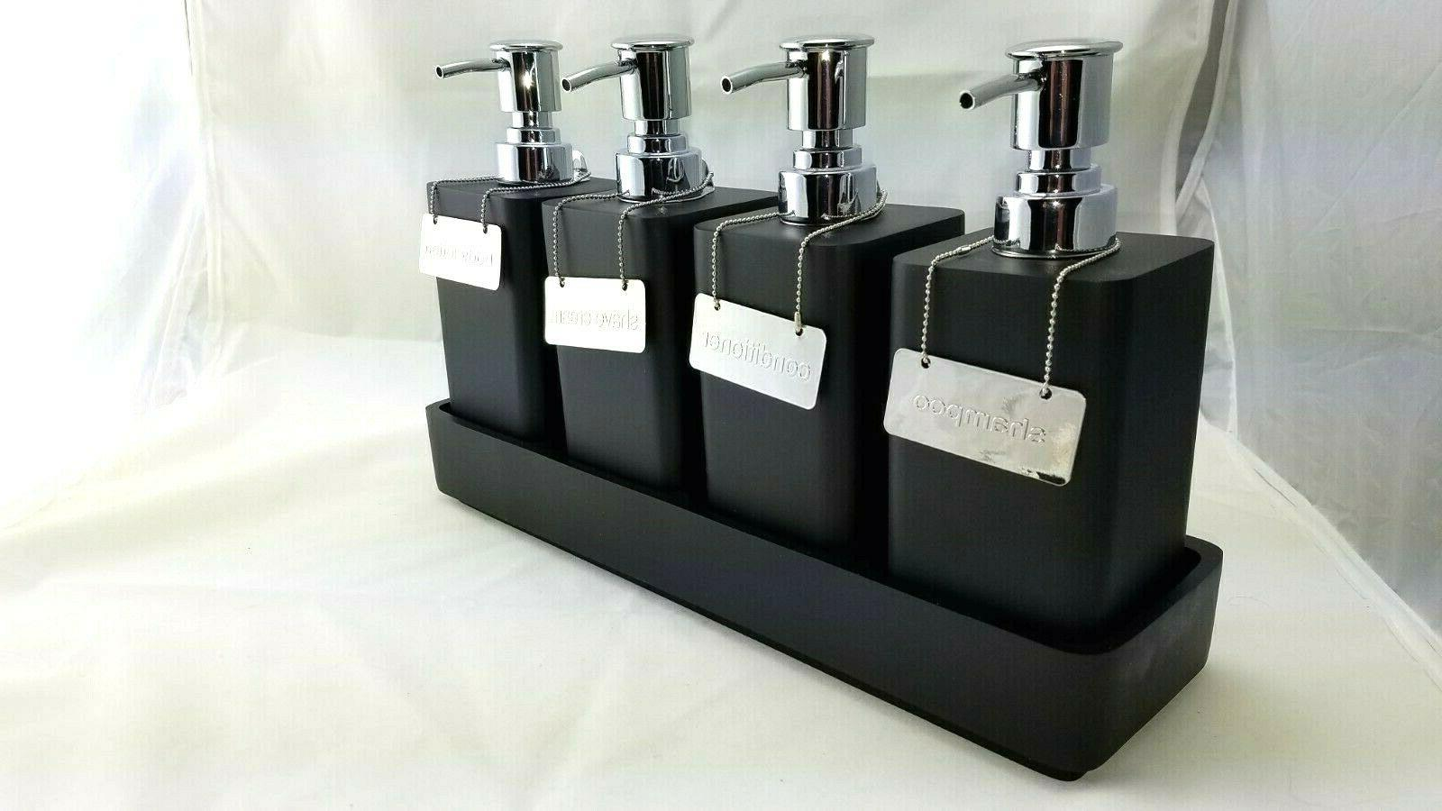 resin pump shelf set w 4 pumps