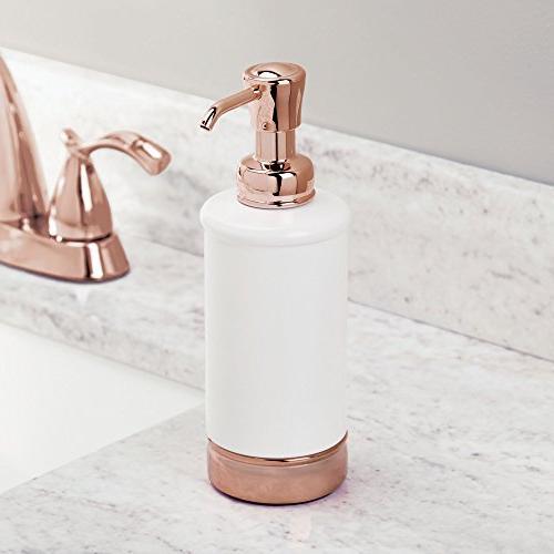 mDesign Round Liquid Hand Soap Dispenser Pump Bottle Sink, Vanity Tops - be Sanitizer - White/Rose Gold