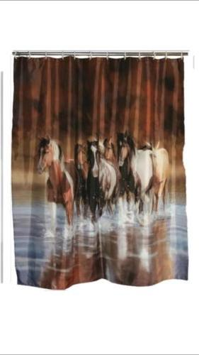 running horses bathroom decor shower curtain tissue