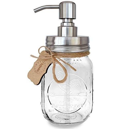 Premium Stainless Jar Soap Pump/Lotion | Modern Chalk Label | 16