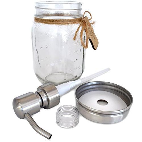 Premium Rustproof Stainless Steel Mason Soap Pump/Lotion Dispenser Modern | Chalk 16 oz Glass Jar