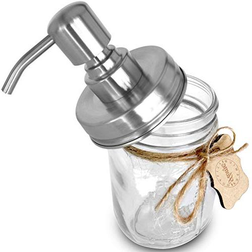 Premium 304 Stainless Steel Mason Jar Soap Pump/Lotion Modern Chalk Label   oz