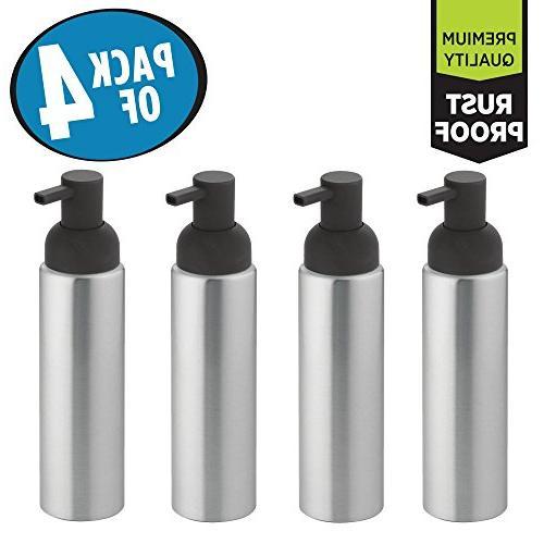 mDesign Aluminum Soap Dispenser for Kitchen of 4,