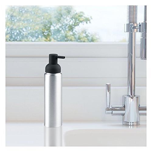 mDesign Aluminum Soap Dispenser Kitchen Countertops of Brushed/Matte Charcoal