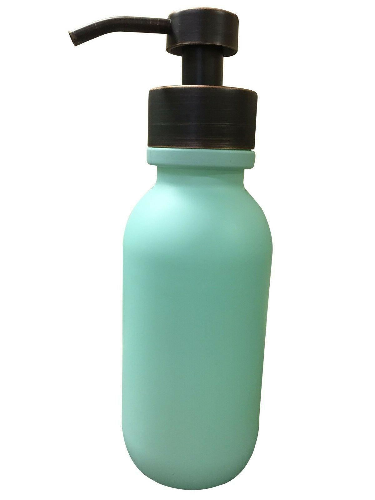 Seafoam Soap Dispenser,16oz Green Glass Bottle, Liquid Soap