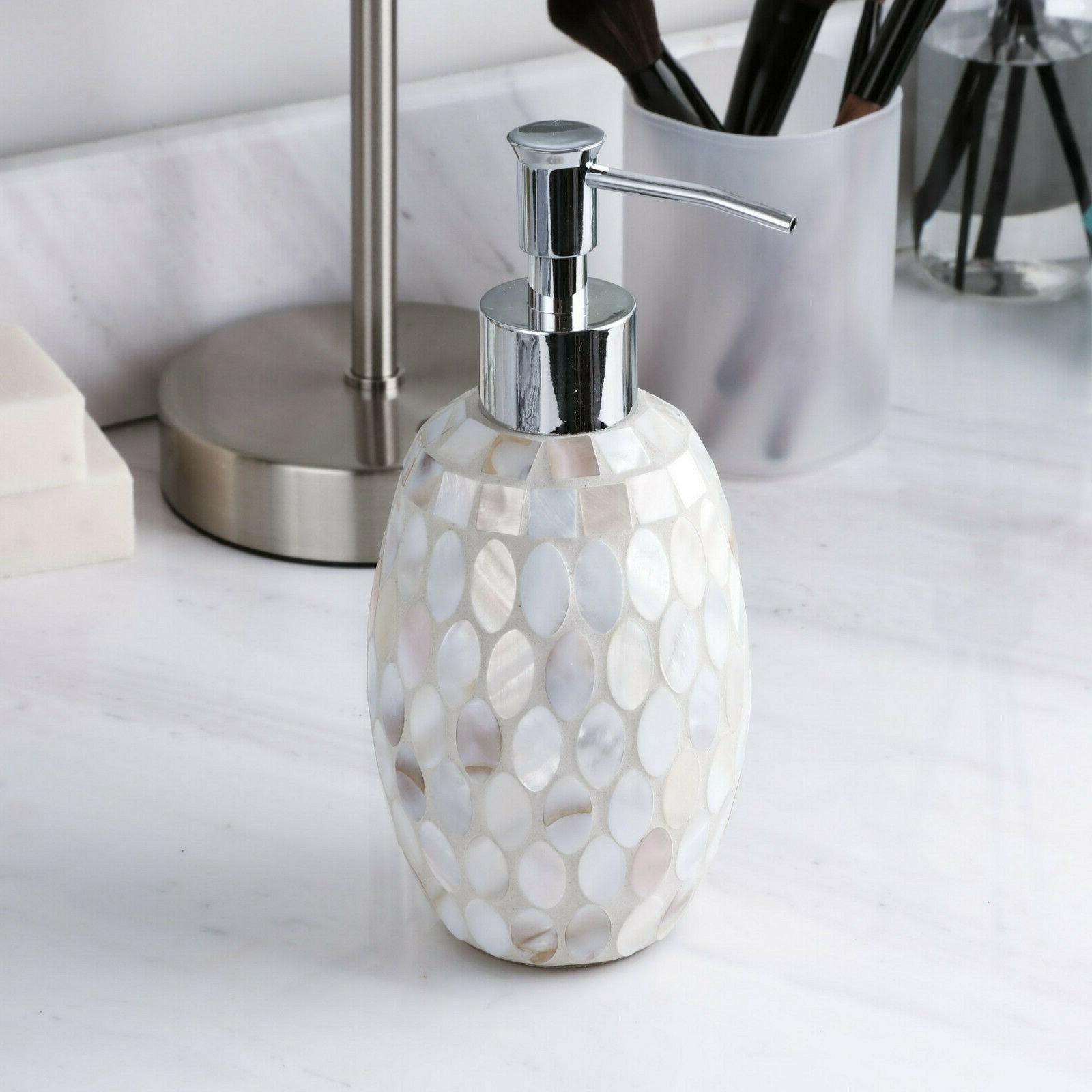 2PC Set Pearl Mosaic GLass Soap/Lotion Dispenser w Pump - Ba