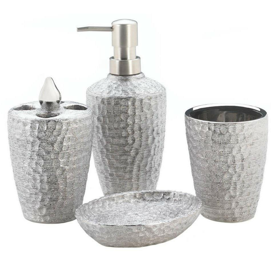 SILVER HAMMERED Bath Accessory Set Porcelain Toothbrush Hold
