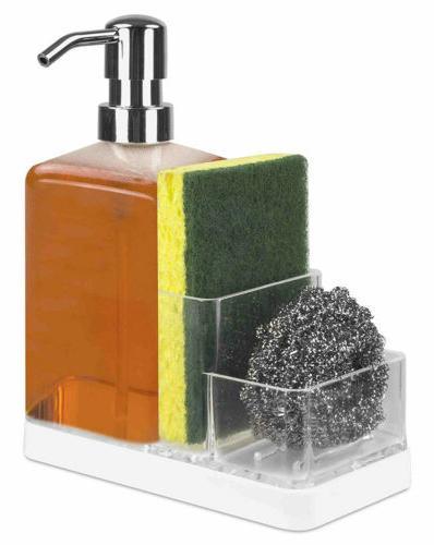 soap dispenser and sponge caddy organizer white