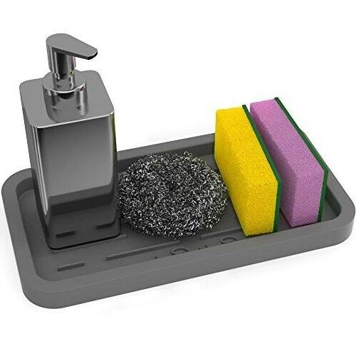 Sponge Holder Kitchen Sink Organizer Silicone Tray Soap