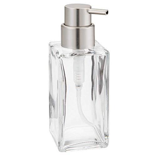 mDesign Liquid Soap Dispenser Bottle Countertop, Kitchen Sink - Soap, Hand Oils 2 Pack - Clear/Brushed