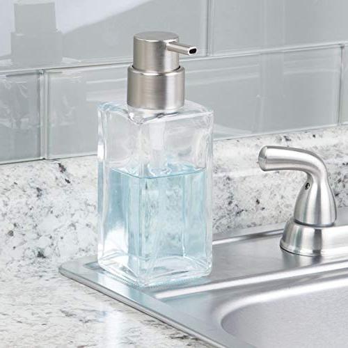 mDesign Square Glass Liquid Bottle Bathroom Vanity Countertop, Kitchen Holds Soap, Hand Oils - Pack -