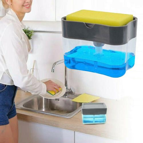 Soap Pump Dispenser & Sponge Holder for Dish Soap and Sponge