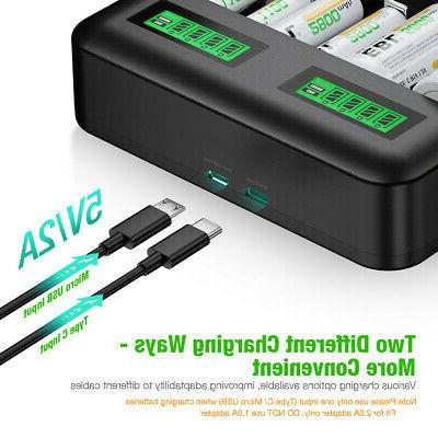 8 Rechargeable C Battery Charger for Ni-Cd AA