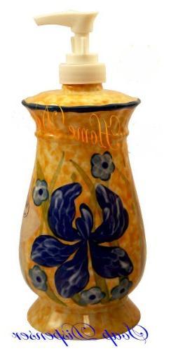 Vintage Yellow Floral Soap Dispenser, Lotion Jar, Bathroom J